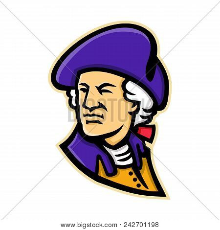 Mascot Icon Illustration Of Head Of An American Statesman, Soldier, First President Of The United St