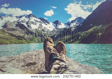 Feet Selfie Traveler Relaxing With Lake And Mountains View On Background Lifestyle Hiking Travel Con