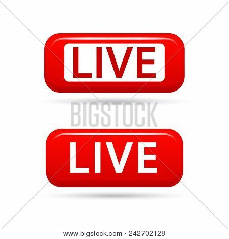 Live Streaming Vector Signs Isolated On White Background. Live Tv Broadcasting. Live Video Streaming