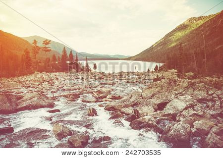 Rapid Water Flow In The Mountainous River Which Flows Into The Multinskoe Lake. Altai Krai, Russia.
