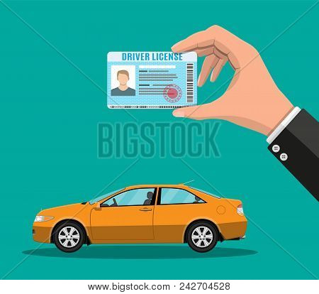 Car Driver License Identification Card In Hand With Photo. Orange Sedan Car. Driver License Vehicle