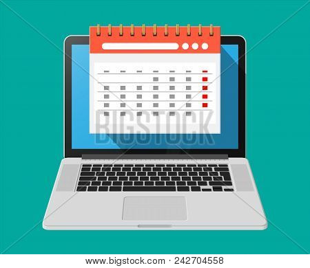 Paper Spiral Wall Calendar In Laptop. Calendar Flat Icon. Schedule, Appointment, Organizer, Timeshee