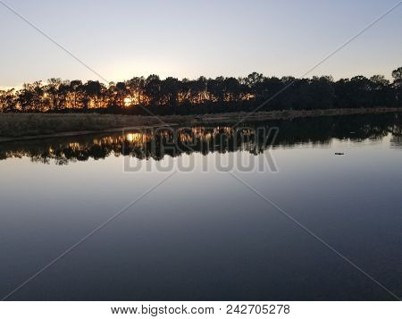Beautiful Pond Reflection In Southern Arkansas Mid Fall