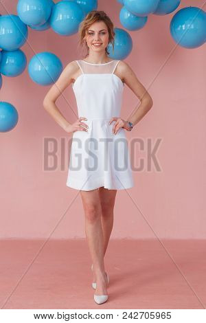 Full Length Portrait Of Smiling Expression Young Teen Girl Posing On Pink Wall Backround Decorated W