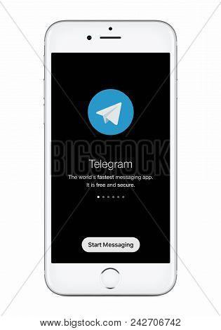 Varna, Bulgaria - January 23, 2018: Telegram Messenger Launch Screen With Telegram Logo On White App