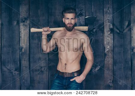 Portrait Of Attractive Sexy Strong Confident Handsome Manful Brave Serious Strict Brutal Boy With Mu