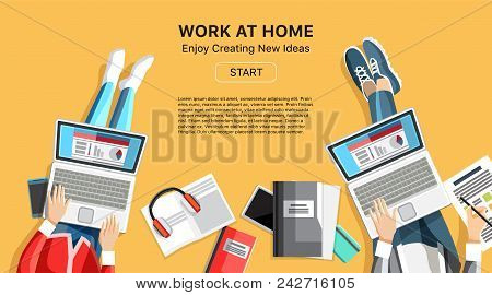 Work At Home Business Banner In Flat Style. Top View People Working On Laptops. Self-employed Person