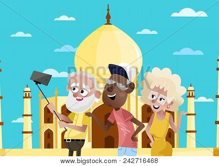 Smiling Old People Doing Selfie On Background Of Taj Mahal In India. Active Elderly Concept With Ret