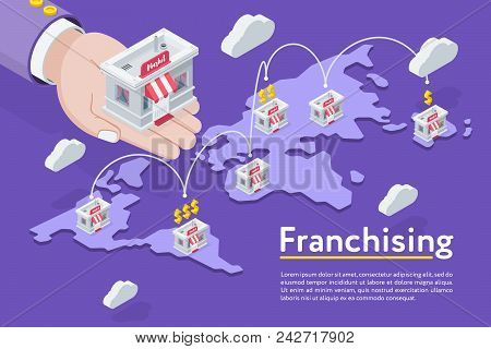 Franchising Stores In Chain On World Map On Purple Background.