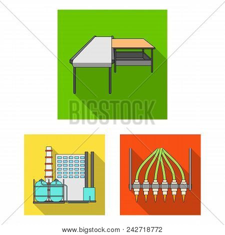 Equipment And Machine Flat Icons In Set Collection For Design.technical Progress Of The Factory Vect