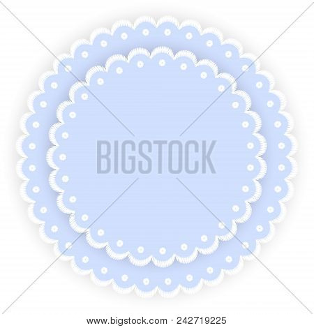 Blue And White Scalloped Lacy Edge Embroidery Circle Doilies Card Template Vector Illustration