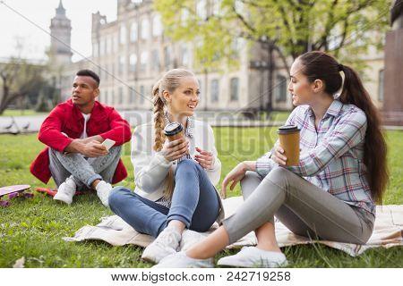Bachelor Students. Three Active Bachelor Students Enjoying Long Awaited Coffee Break Together Sittin