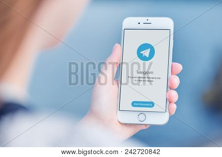 Varna, Bulgaria - January 23, 2018: Telegram Messenger On Apple Iphone In Woman Hands Over The Shoul