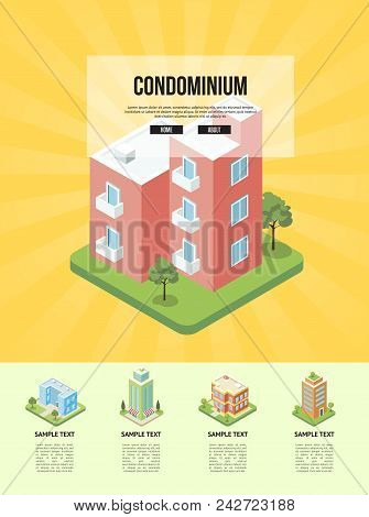 Modern cozy condominium building banner. Comfortable apartment in condo isometric vector illustration. City street with small residential houses, house infrastructure with green decorative plants. poster