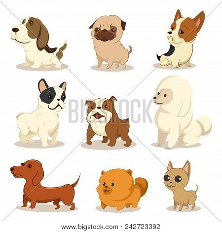 Cute Cartoon Dog Vector Set. Pets Of Different Breeds. Funny Little Puppies. Illustration Of A Doggi