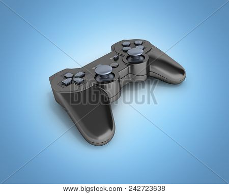 black gamepad without shadow isolated on blue gradient background background 3d poster