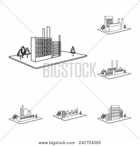 Factory And Plant Outline Icons In Set Collection For Design. Production And Enterprise Vector Isome