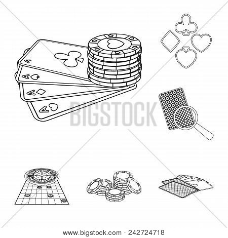 Casino And Equipment Outline Icons In Set Collection For Design. Gambling And Money Vector Symbol St