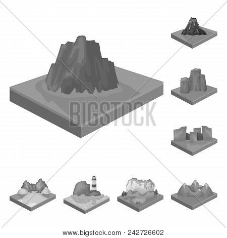 Mountains, Massive Monochrome Icons In Set Collection For Design. The Surface Of The Earth Vector Is