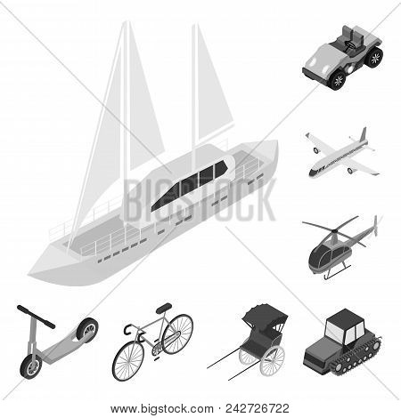 Different Types Of Transport Monochrome Icons In Set Collection For Design. Car And Ship Isometric V