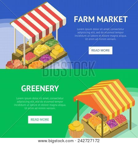 Street Farm Market Food Stand With Canopy. Portable Vendor Booth With Fresh Fruits And Vegetables Is