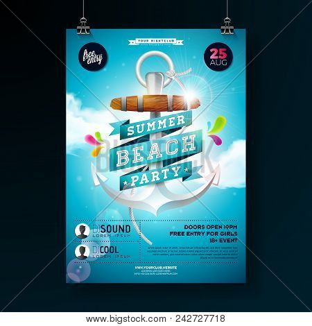 Vector Summer Beach Party Flyer Design With Anchor And Ribbon On Blue Cloudy Sky Background. Design