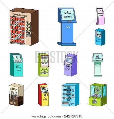 Variety Of Terminals Cartoon Icons In Set Collection For Design. Atm And Trading Device Vector Symbo