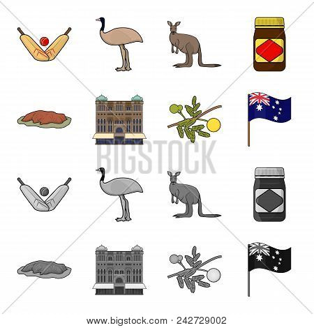 The Palace Of Queen Victoria, Mount Uluru, A Flower Of A Mimosa, A National Flag.australia Set Colle