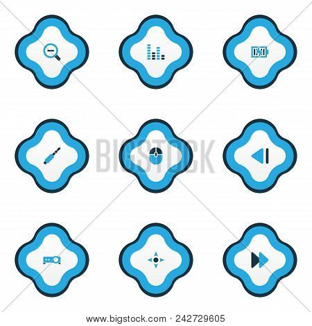 Multimedia Icons Colored Set With Charging, Projector, Jack And Other Next Elements. Isolated Vector