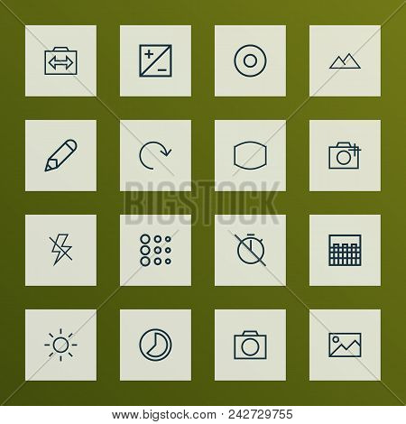 Image Icons Line Style Set With Filtration, Photography, Pen And Other Flash Off Elements. Isolated
