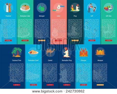 Ramadan Vertical Banner Concept | Set Of Great Vertical Banner Flat Design Illustration Concepts For