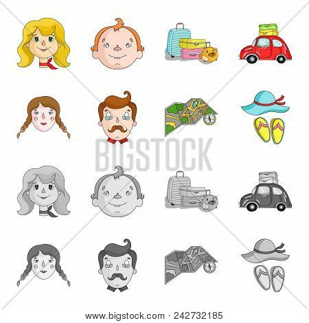Travel, Vacation, Camping, Map .family Holiday Set Collection Icons In Cartoon, Monochrome Style Vec