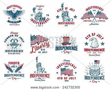 Set Of 4th July Vintage Emblem. Vector Illustration.