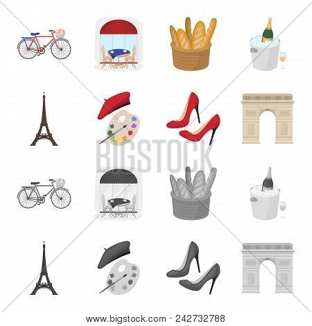Eiffel Tower, Brush, Hat .france Country Set Collection Icons In Cartoon, Monochrome Style Vector Sy