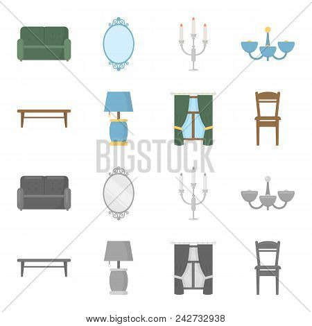 A Coffee Table, A Lamp, Curtains, A Chair.furniture Set Collection Icons In Cartoon, Monochrome Styl