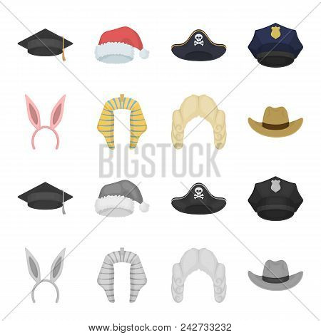 Rabbit Ears, Judge Wig, Cowboy. Hats Set Collection Icons In Cartoon, Monochrome Style Vector Symbol