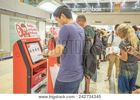 Bangkok Thailand , April 2, 2018 : Unidentified People Self Check In For Air Asia Flights At Don Mue