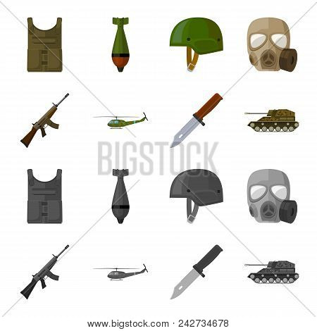 Assault Rifle M16, Helicopter, Tank, Combat Knife. Military And Army Set Collection Icons In Cartoon
