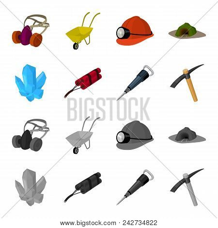 Minerals, Explosives, Jackhammer, Pickaxe.mining Industry Set Collection Icons In Cartoon, Monochrom