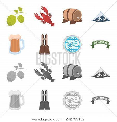 Shorts With Suspenders, A Glass Of Beer, A Sign, An Emblem. Oktoberfest Set Collection Icons In Cart