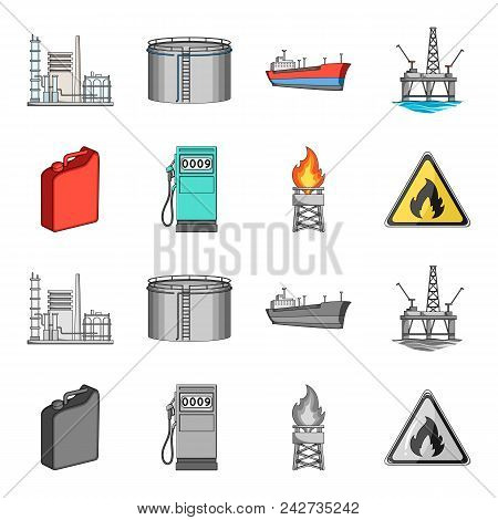 Canister For Gasoline, Gas Station, Tower, Warning Sign. Oil Set Collection Icons In Cartoon, Monoch