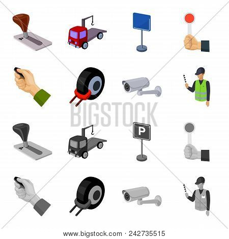 Car Alarm, Wheel Rim, Security Camera, Parking Assistant. Parking Zone Set Collection Icons In Carto