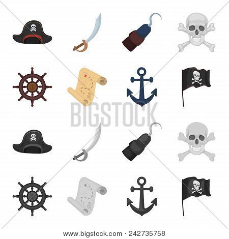 Pirate, Bandit, Rudder, Flag .pirates Set Collection Icons In Cartoon, Monochrome Style Vector Symbo