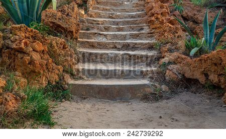 Natural Stone Stairway With Green Bushes On Both Sides At Montaza Public Park In Summer Time, Alexan