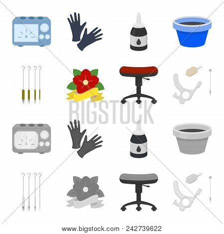 Chair On Rollers, Needles For Tattoo And Other Equipment. Tattoo Set Collection Icons In Cartoon, Mo