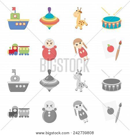 Train.kukla, Picture.toys Set Collection Icons In Cartoon, Monochrome Style Vector Symbol Stock Illu