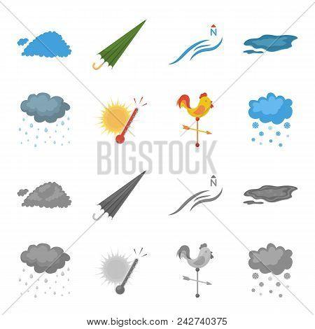 Rain, Snow, Heat, Weathervane. The Weather Set Collection Icons In Cartoon, Monochrome Style Vector