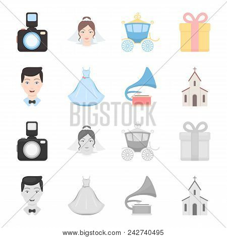 Wedding Dress, Groom, Gramophone, Church. Wedding Set Collection Icons In Cartoon, Monochrome Style