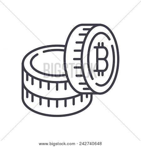 Capital In Bitcoins Black Icon Concept. Capital In Bitcoins Flat  Vector Website Sign, Symbol, Illus