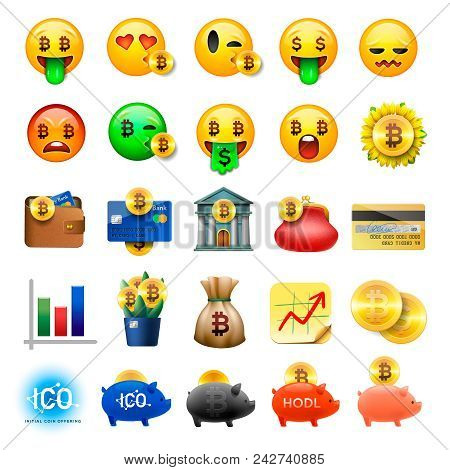 Set Of Cute Smiley Emoticons, Emoji Design, Bicoin, Business, Crypto Currency Icons, Vector Ilustrat